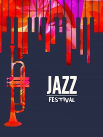 Jazz Music Festival Poster With Piano Keyboard And Trumpet Vector Illustration Design. Music Backgro