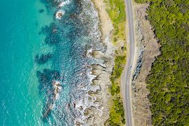 Top Down Aerial View Of Great Ocean Road In Australia