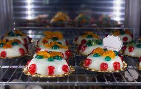 Display With Italian Delicious Panna Cotta Dessert