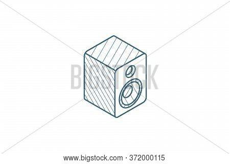 Subwoofer Speaker Isometric Icon. 3d Line Art Technical Drawing. Editable Stroke Vector