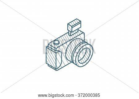 Digital Photo Camera Isometric Icon. 3d Line Art Technical Drawing. Editable Stroke Vector