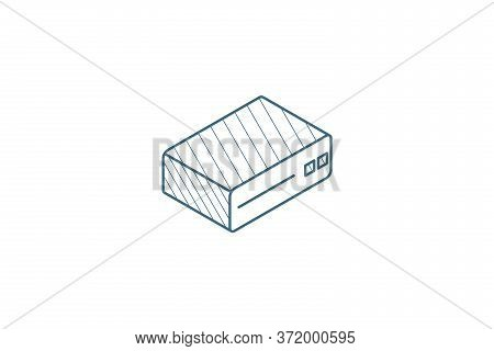 Cd Player, Console, Dvd, Cd-rom Isometric Icon. 3d Line Art Technical Drawing. Editable Stroke Vecto