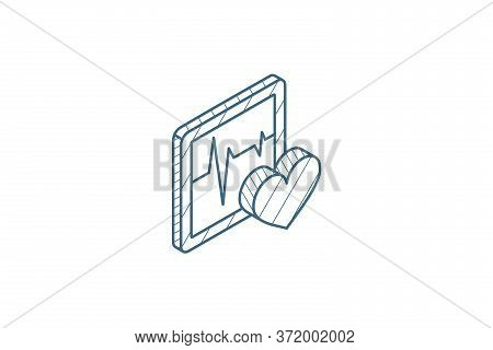 Pulse, Ecg, Cardiogram Isometric Icon. 3d Line Art Technical Drawing. Editable Stroke Vector