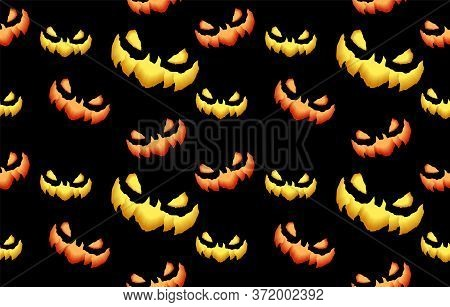 Big Seamless Pattern With Spooky And Crazy Pumpkins, Monsters Faces In The Dark For Halloween Design