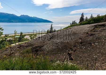 Exposed Bedrock Of  A Turnagain Arm  Park Near Anchorage Alaska.