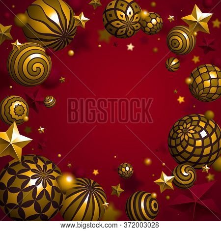 Abstract Gold Spheres And Stars Vector Background, Composition Of Flying Balls Decorated With Patter