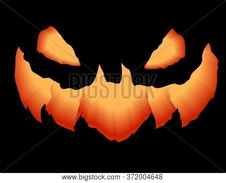 A Grinning Jack Lantern.smile Glowing In The Dark Pumpkin. 3d Realistic Vector Illustration.