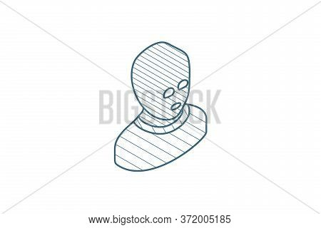 Avatar Outlaw Man, Terrorist In Balaclava Mask Isometric Icon. 3d Line Art Technical Drawing. Editab