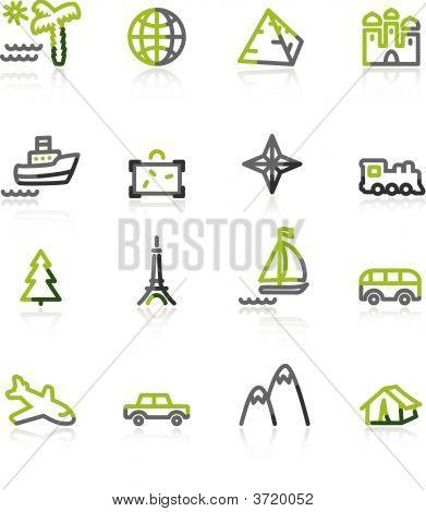 Green-Gray Travel Icons