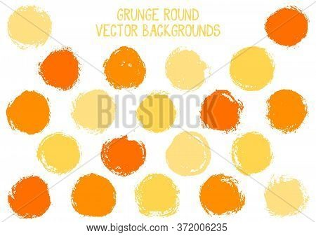 Vector Orange Grunge Circles Isolated. Creative Stamp Texture Circle Scratched Label Backgrounds. Ci