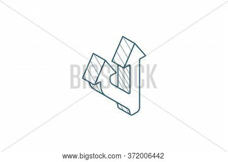 Junction, Separation, Two Ways Isometric Icon. 3d Line Art Technical Drawing. Editable Stroke Vector