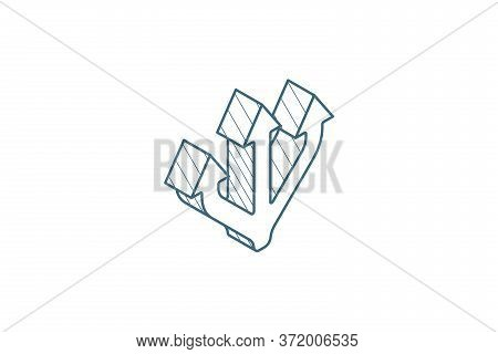 Junction Separation, Three Way Isometric Icon. 3d Line Art Technical Drawing. Editable Stroke Vector