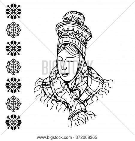 Cute Modest Girl In National Scandinavian Hat And Plaid Scarf With Traditional Snowflake Pattern, Ve