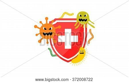 Immune System Concept. Hygienic Medical Blue Shield Protecting From Virus Germs And Bacteria Flat De