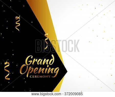 Grand Opening Golden Banner With Text Space Vector Design Illustration
