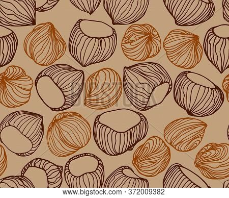 Abstract Seamless Pattern Of A Set Of Hazelnuts & Kernels, For Menu Design Or Confectionery, Textile