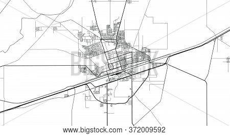 Urban Vector City Map Of Sahiwal, Pakistan, Asia.