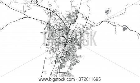 Urban Vector City Map Of Quetta, Pakistan, Asia.