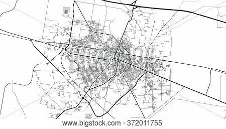 Urban Vector City Map Of Sheikhupura, Pakistan, Asia.