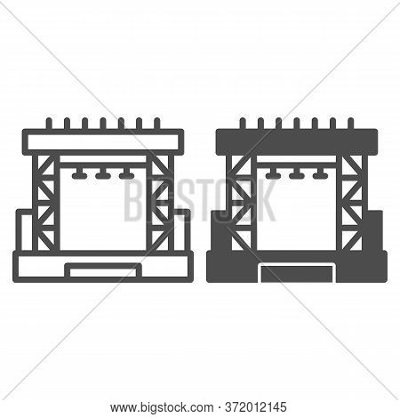 Outdoor Concert Stage Line And Solid Icon, Music Festival Concept, Scene Sign On White Background, C