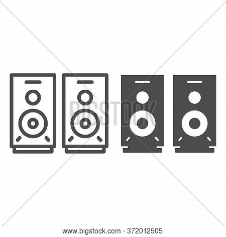 Speakers Line And Solid Icon, Media Concept, Audio Speaker Sign On White Background, Stereo Speakers