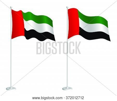 Flag Of United Arab Emirates On Flagpole Waving In The Wind. Holiday Design Element. Checkpoint For