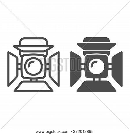 Searchlight Line And Solid Icon, Music Festival Concept, Scene Lighting Sign On White Background, St