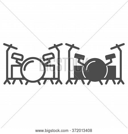 Drums Line And Solid Icon, Music Festival Concept, Drum Set Sign On White Background, Drum Kit Icon