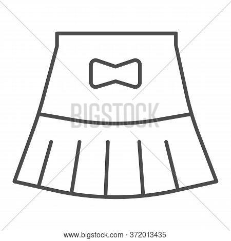 Miniskirt Thin Line Icon, Summer Clothes Concept, Girl Mini Skirt Sign On White Background, Short Sk