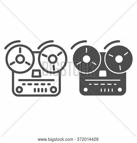 Tape Recorder Line And Solid Icon, Music Concept, Old Reel Tape Recorder Sign On White Background, O