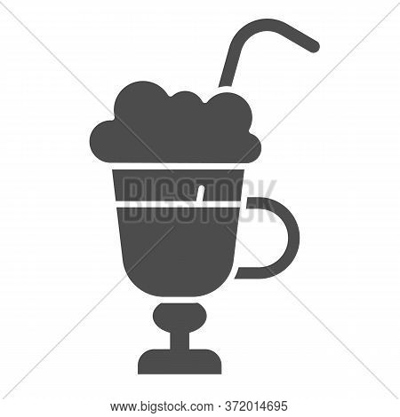 Latte With Cream In Glass Solid Icon, Beverage Concept, Latte Coffee With Whipped Cream Sign On Whit