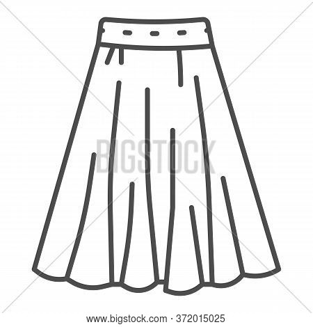 Skirt Thin Line Icon, Clothes Concept, Long Elegant Women Skirt Icon On White Background In Outline