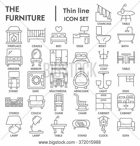 Furniture Thin Line Icon Set, Home Decor Symbols Collection Or Sketches. Furniture Linear Style Sign