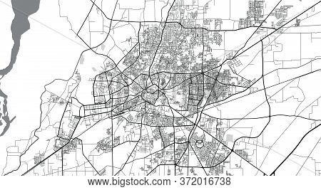 Urban Vector City Map Of Multan, Pakistan, Asia.