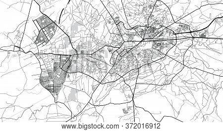 Urban Vector City Map Of Peshawar, Pakistan, Asia.