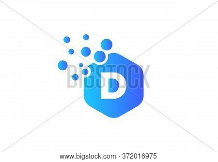 Letter D Hexagon Bubbles Vector. D Letter Logo Design Vector With Dots And Colorful Hexagon.