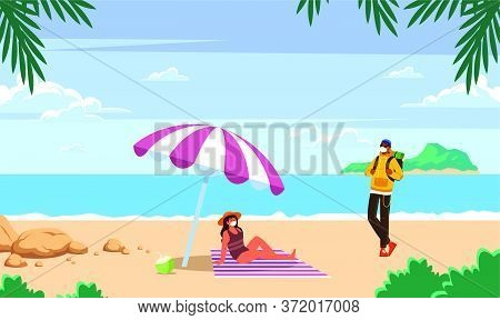 Couple Is Enjoying At The Beach Art
