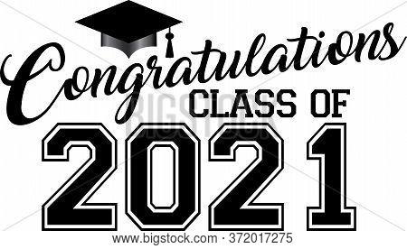 Congratulations Class Of 2021 Graduation Banner With Cap