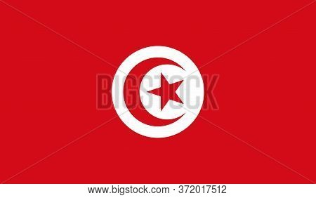 Tunisian Flag, Official Colors And Proportion Correctly. National Tunisian Flag. Vector Illustration
