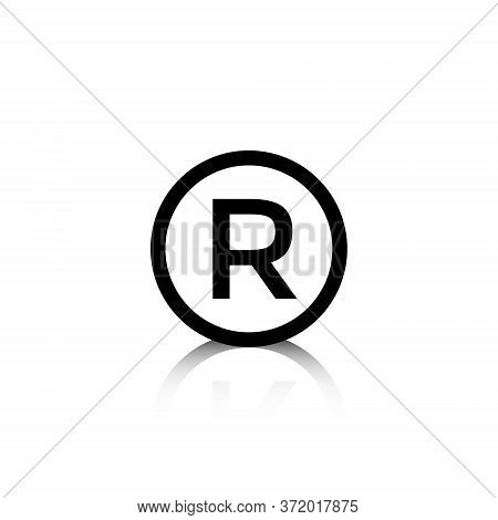 Registered Trademark Symbol Vector In Trendy Style Isolated On White Background. R Letter Icon In Ci