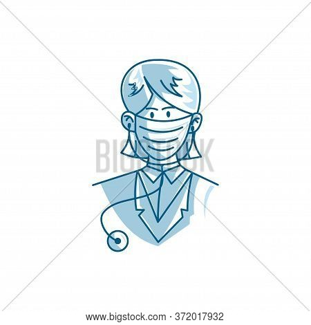 Illustration Of Female Doctor Character Wearing Mask Vector
