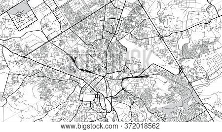 Urban Vector City Map Of Rawalpindi, Pakistan, Asia.
