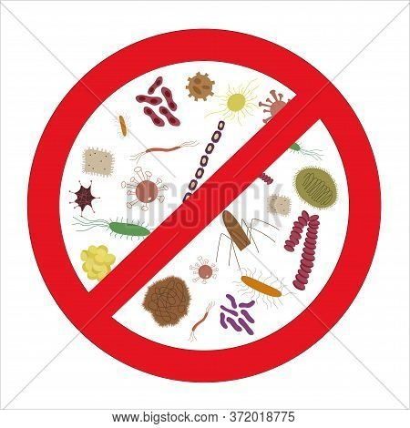 A Set Of Icons For Viral Bacteria. Cartoon Illustration. Microorganisms Of The Bacillus. Stop Germs
