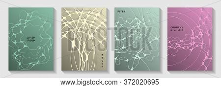 Scientific Vector Covers With Molecular Structure Or Nervous System Cells. Intersecting Waves Fusion