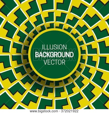 Round Frame On Yellow Green Optical Illusion Hypnotic Background Of Rotating Corners Shapes.
