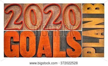 2020 goals plan B - isolated banner in vintage letterpress wood type - revision and changing business or personal plans and goals concept