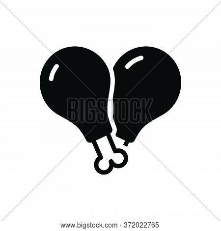 Black Solid Icon For Meat Flesh Food Beef  Steak Slice Chicken Piece