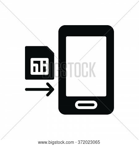 Black Solid Icon For Insert Teem Phone Card Put Keep Sim