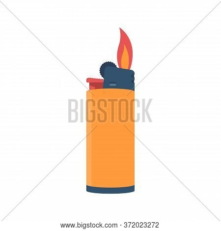 Flat Style Lighter Isolated On A White Background. Fire From A Lighter. Cartoon Icon. Vector Illustr