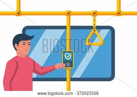 Person Pays For Travel In Transport. Cashless Ticketing. Public Transport. Online Payment System In